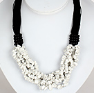 Bold Necklace Multi Strands Howlite Chips Necklace