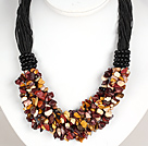 Bold Necklace Multi Strands Silver Leaf Agate Chips Necklace