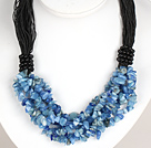 Bold Necklace Multi Strands Blue Ore Stone Chips Necklace