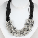 Bold Necklace Multi Strands Black Rutilated Quartz Chips Necklace