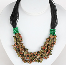 Negrita Collar Multi Strands Verde picazo Piedra Necklace