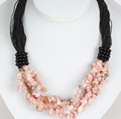 Bold Necklace Multi Strands Pink Opal Chips Necklace