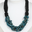 Bold Necklace Multi Strands Blue Gemstone Chips Necklace