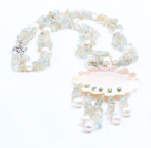 Chic Style Natural Freshwater Pearl Citrine Aquamarine Chips Tassel Necklace with Sun Flower Shell Pendant