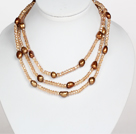 Brown Color Baroque Pearl Crystal Long Style Necklace