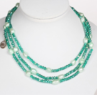 Green Color Baroque Pearl Crystal Long Style Necklace