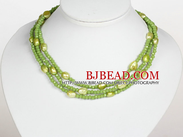 Grass Green Color Baroque Pearl Crystal Long Style Necklace