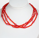 Red Color Baroque Pearl Crystal Long Style Necklace