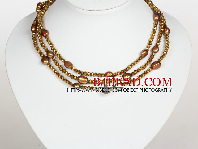 Golden Brown Color Baroque Pearl Crystal Long Style Necklace