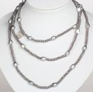 Collana Stile grigio argento Colore Blu Baroque Pearl di cristallo lunga
