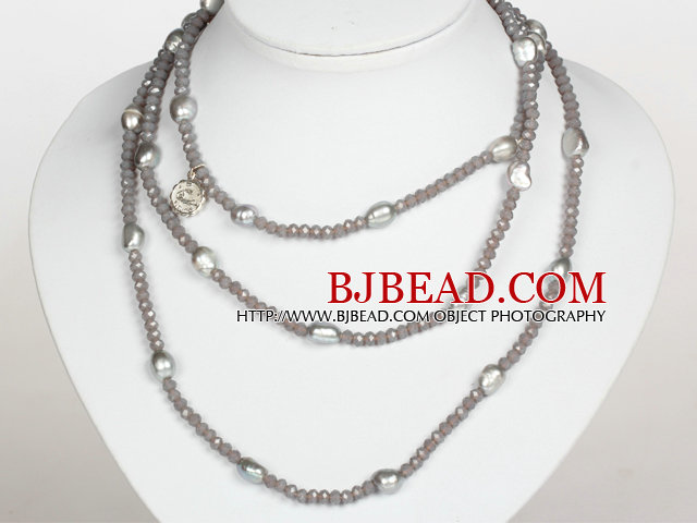 Silver Gray Color Blue Baroque Pearl Crystal Long Style Necklace