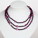 Colar longo Estilo Dark Purple Baroque Crystal Pearl