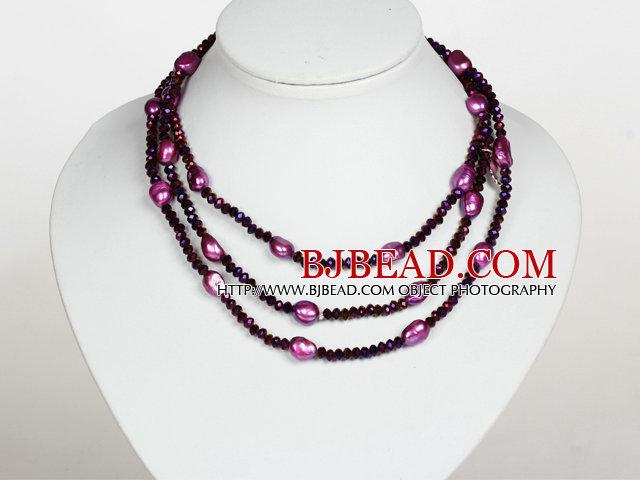 Dark Purple Color Baroque Pearl Crystal Long Style Necklace