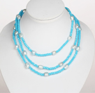 Sky Blue Color Barok Parel Crystal lange stijl ketting