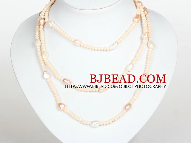 Pink Color Baroque Pearl Crystal Long Style Necklace