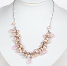 Serie rosa rosa perla de agua dulce y rosa collar de cristal de cuarzo con la cadena del metal