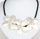 White Pearl Crystal and Shell Flower Necklace with Magnetic Clasp under $ 40