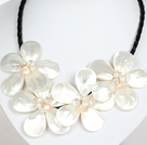 White Pearl Crystal and White Shell Flower Necklace with Magnetic Clasp