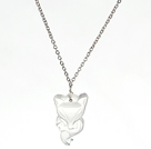 Clear Crystal Fox Pendant Necklace With Metal Chain under $ 40