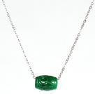 Drum Forma verde del pendente della collana della pietra preziosa con catena in metallo