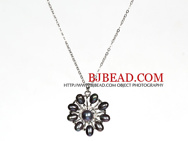 Natural Black Freshwater Pearl Flower Pendant Necklace with Metal Chain
