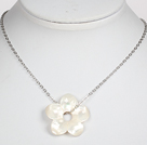 White Shell Flower Pendant Necklace with Metal Chain