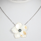 Black Pearl and White Shell Flowe Pendant Necklace with Metal Chain