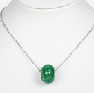 Green Gemstone Pendant Necklace with Metal Chain