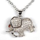 Elephant White Gold Plated naszyjnik z metalowy łańcuch