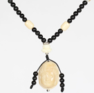 Obsidian Beads and White Agate Necklace with Corozo Nut Laugh Baddha Pendant