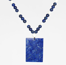White Porcelain Stone and Lapis Necklace with Rectangle Shape Lapis Pendant