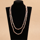 Chic Long Style 7-8mm Natural Rice Light Purple Pearl Necklace Best Gift