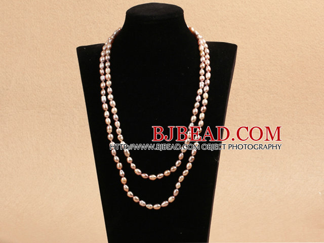 Chique Lange Style 78mm Natuurlijke Rice Pink Pearl Necklace Best Gift