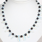 Black Pearl and Opal Crystal Necklace with Lobster Clasp
