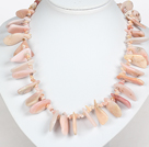 Irregular Shape Pink Opal Stone Necklace