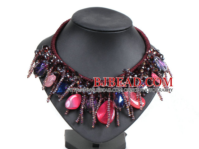 Fantastic Sparkly Multi Color Crystal Rose Red Agate Hand-Knitted Party Necklace