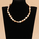 White Pearl and Tiger Eye Stone Pendant Necklace