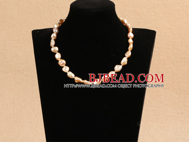 Best Mother Gift Graceful Irregular Shape Natural Pink Rebirth Pearl Party Necklace