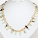 Pink Freshwater Pearl and Prehnite Stone Necklace