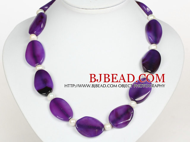White Freshwater Pearl and Purple Agate Necklace with Moonlight Clasp