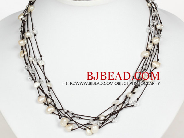 Multi Strands White Pearl and Clear Crystal Necklace