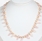 Pink Freshwater Pearl and Rose Quartz Necklace with Lobster Clasp