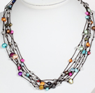 Multi Strands Assorted Multi Color Pearl Necklace