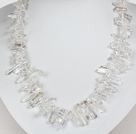 Natural White Freshwater Pearl and Clear Crystal Necklace