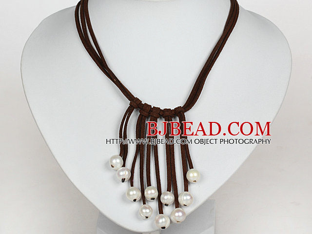 10-11mm Natural White Freshwater Pearl Tassel Necklace with Dark Brown Leather Cord