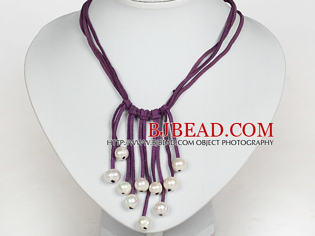 10-11mm Natural White Freshwater Pearl Tassel Necklace with Purple Leather Cord