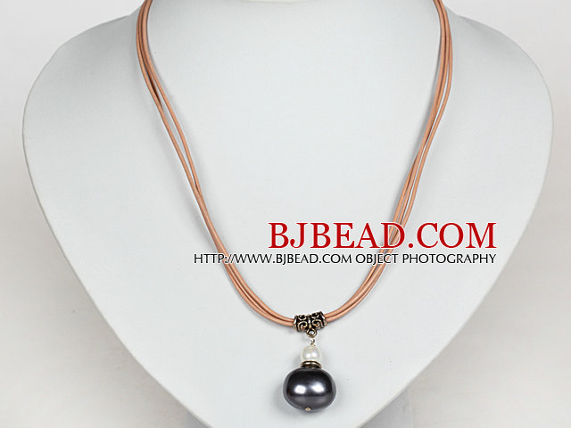 Black Gray Potato Shape Sea Shell Beads Pendant Leather Necklace