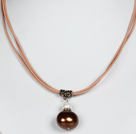 Coffee Color Potato Shape Sea Shell Beads Pendant Leather Necklace under $ 40