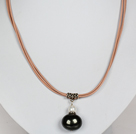 Black Color Potato Shape Sea Shell Beads Pendant Leather Necklace