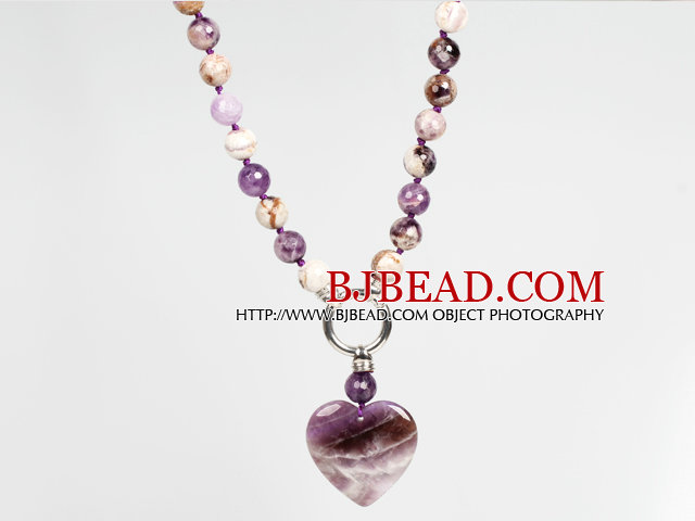 Fashion Amethyst Necklace with Amethyst Heart Shape Pendant